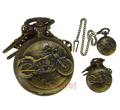 Handmade Vintage Bike Design Pocket Watch With Long Chain Made by Dorpmarket