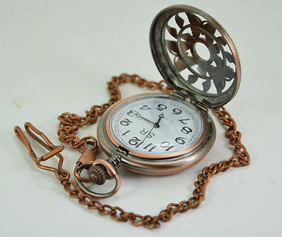 Handmade Vintage Butterfly Design Pocket Watch With Long Chain - by Dorpmarket