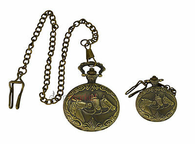 Handmade Vintage Three Horse Design Pocket Watch With Long Chain by Dorpmarket