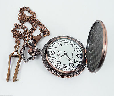 Handmade Vintage Pink Yacht designed Pocket Watch with long chain