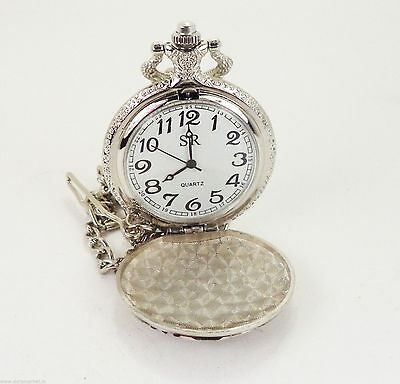 Vintage Reproduction Handmade White Designed Silver Colo Pocket Watch With Chain