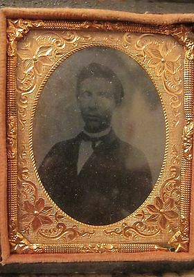 antique 1800 leather ambrotype daguerreotype cross-eyed photograph picture box