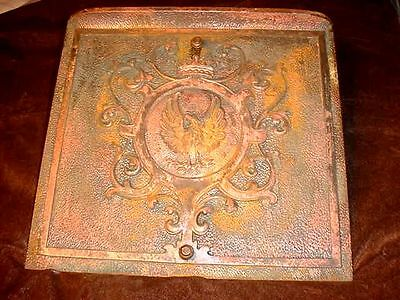 Ornate Vintage Cast Iron Eagle Fire Place Cover From A Century Old New Albany Ma