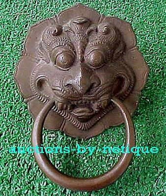 """Large Brass Pull or Chest or Door Handle India Fierce Indian God Face 4 & 1/2"""" H"""
