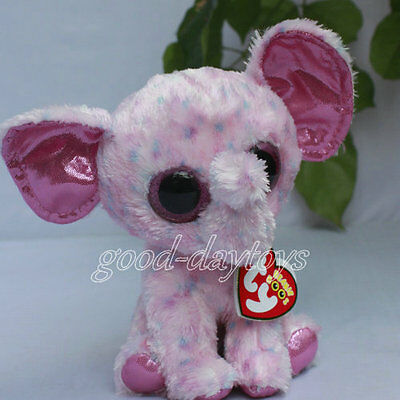 """Soft Toy FROM TY BEANIES BOOS STUFFED ~ELLIE the Elephant 6"""" Defect eye"""