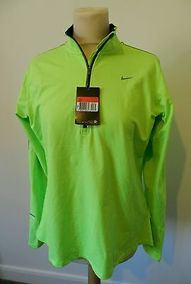 Womens Nike Green Reflective 10 Element 1/2 Zip Long Sleeve Running Top Large 14