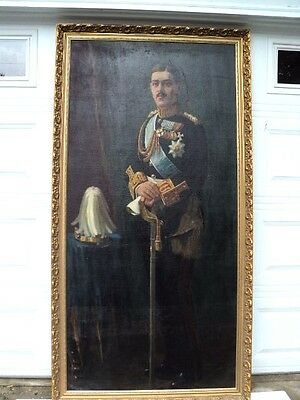 "King Alexander of Greece 1917 1920 Huge Oil Painting 81""  tall Signed by artist"
