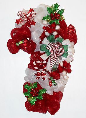 New Handmade Christmas Candy Cane Deco Mesh Wreath Red White Green