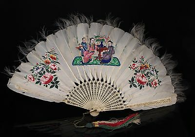 A 19th c. Chinese Painted Feather Brisé Fan - Polychrome Decoration, (b).