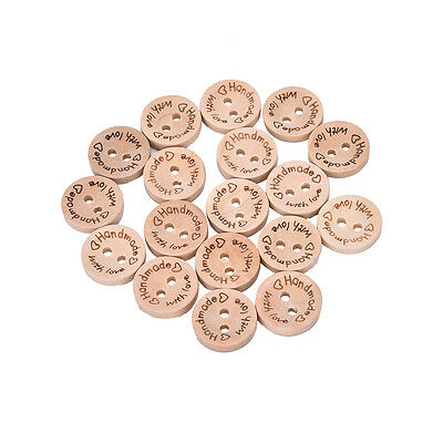 100X Handmade With Love Buttons Scrapbooking Sewing Wood Button 25mm 20mm 15mm