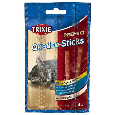 Trixie Premio Quadro-Sticks Anti-Hairball Lachs/Forelle 20 g, UVP 0,99 EUR, NEU