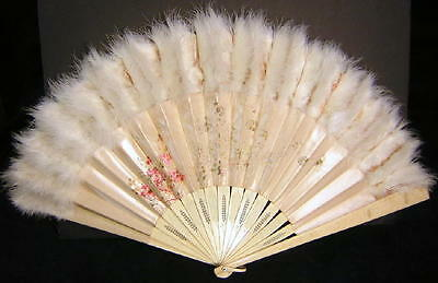 19c Antique Chinese Carved Cow Bovine Bone Hand Painted Silk Fan Ostrich Feather