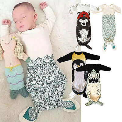 Infant Baby Mermaid Swaddle Wrap Sleeping Bag Newborn hands up Sleep Sack Romper