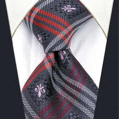 Mens Scottish Tartan Tie Grey Pink Red White Silver