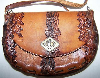 Hand Tooled Leather Bag Handbag Boho Excellent Used Condition