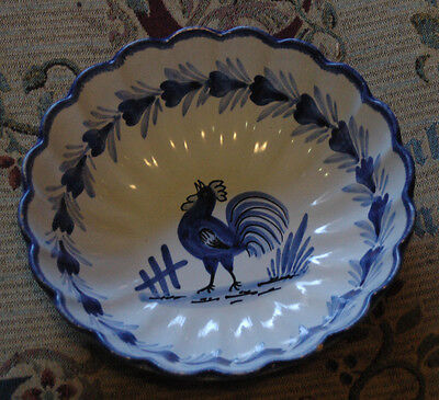 Hand Painted Cockerel Bowl! Dish! Ceramic! Chicken! Blue & White! Charity!