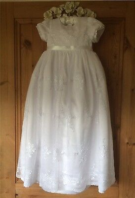 NEW VICTORIAN STYLE LONG WHITE BABY GIRL CHRISTENING GOWN & HEADBAND 3/6/9/12 m