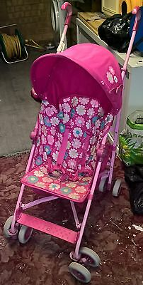 pink floral Mothercare Jive pushchair/ stroller/ buggy with hood and rain cover