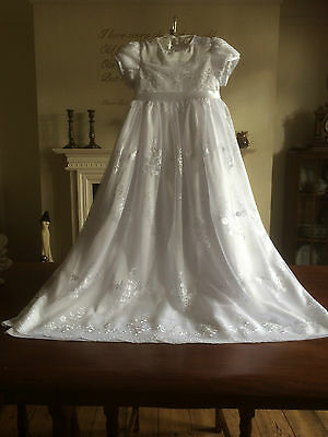 New Girls White Christening Baptism Gown Vintage Style + Headband 3/6/9/12 Month