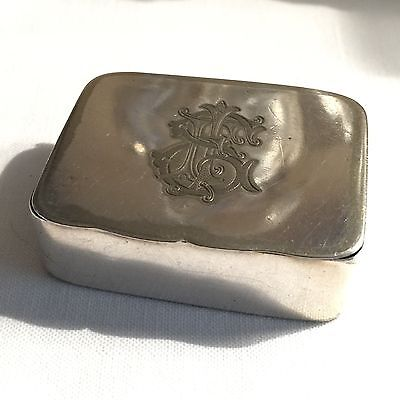 Antique Snuff Box Silver Plate Initial Engraved