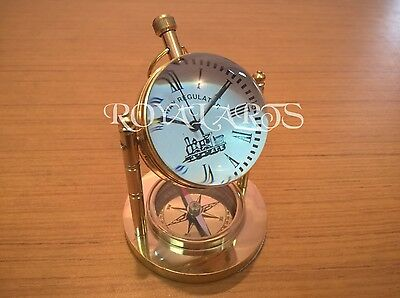 Brass Desk Clock With Compass Vintage Collectible Decor Gift Item