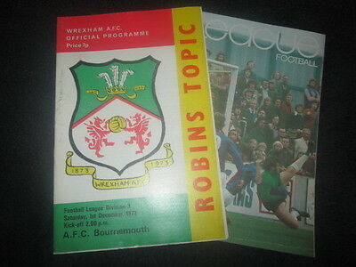WREXHAM v AFC BOURNEMOUTH 1ST DECEMBER 1973 GOOD CONDITION