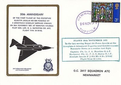 1971 20th Anniv of First Flight of Gloster Javelin cover with Newmarket CDS.
