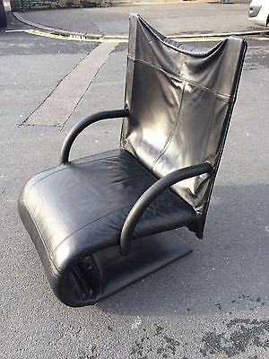 Rare Ligne Roset Zen Black Leather Armchair by Claude Brisson