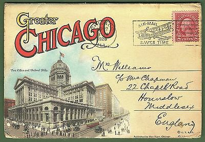 Chicago 1928 Souvenir Folder Cards 'Greater' Postally Used. Good & Complete