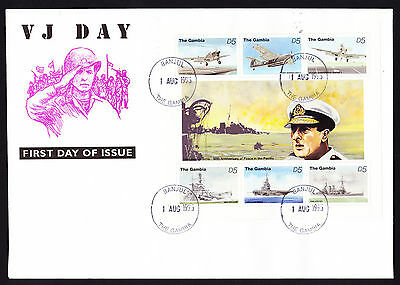 1995 VJ First Day Cover 50th Anniversary Peace Pacific The Gambia War Plane Ship
