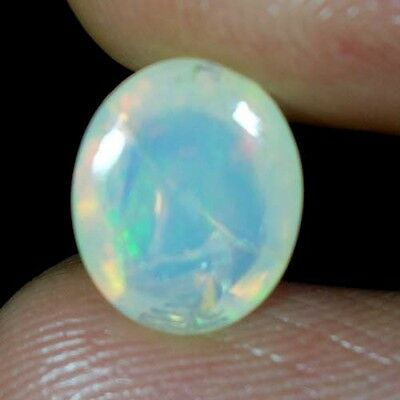 02.70Cts. 100% NATURAL RAINBOW FIRE ETHIOPIAN OPAL OVAL CABOCHON SUPER GEMSTONES