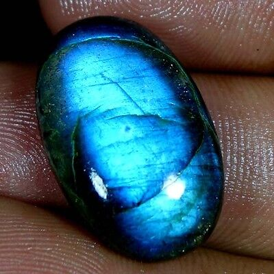 24.75Cts. AAA 100% NATURAL FLASHING LABRADORITE OVAL CABOCHON AFRICAN GEMSTONES