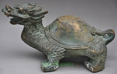 "Old Chinese Fengshui Gilt Bronze""壽""Animal Dragon Turtle Tortoise Lucky Statue NR"