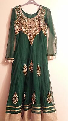Pakistani Indian Anarkali Mendhi Party Green and Gold Size 36