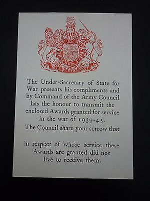 A Rare British Ww2 Medal Entitlement Document For 'killed In Action' - Unnamed