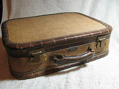 Vtg American Tourister Tweed Carry On Train Cosmetics Makeup Luggage Case b4