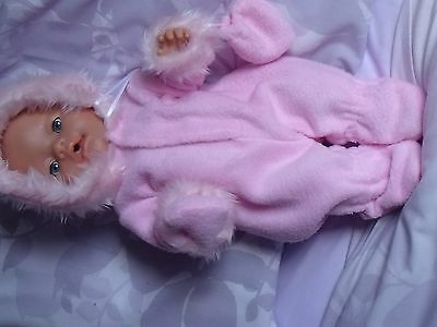 """Fleece Snowsuit Pink Also In Lilac,  To Fit 17"""" Baby Born"""