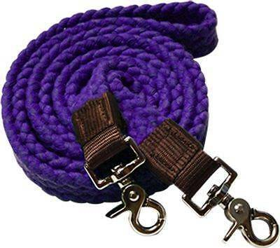 Showman PURPLE Flat Cotton Roping Reins with Scissor Snap Ends! New Horse Tack!