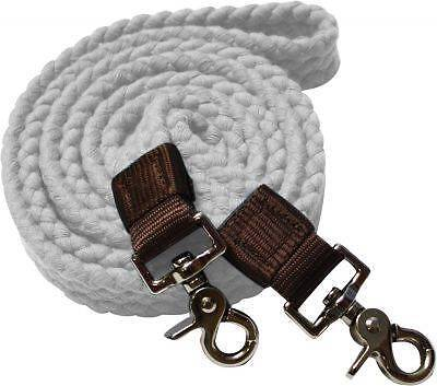 Showman WHITE Flat Cotton Roping Reins with Scissor Snap Ends! New Horse Tack!