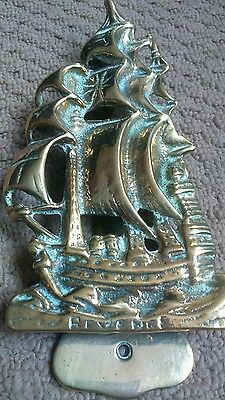 Antique Vintage Solid Brass Hms Revenge Ship Door Knocker