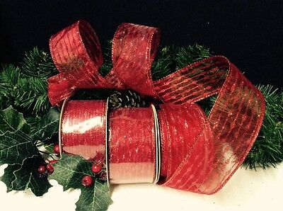 "3 ""RED GLITTER"" CHRISTMAS RIBBONS"" TREES/BOWS/GARLANDS/GIFTS & DECOR. 10yd rolls"