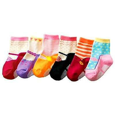 Baby Girls Kids 6-Pack MARY JANE Anti-slip Ankle Socks (SET K) - ONE SIZE (Suita