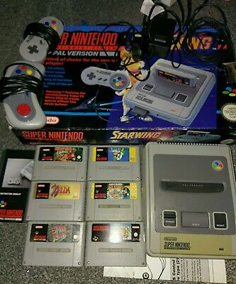 Super Nintendo Entertainment System Console Bundle Great Selection Of Top Games