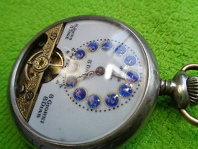 French Silver Hebdomas 8 Days Pocket Watch Serviced Working --