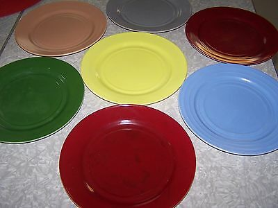 13 Multi Colored Pieces of Vintage Moderntone Platonite Dishes
