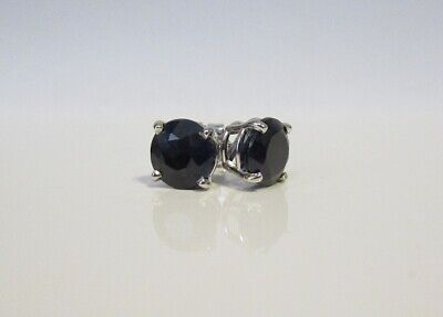 Bold Blue Sapphire Stud 14K WG New 7mm Round 3.4ct Earrings Boxed White Gold