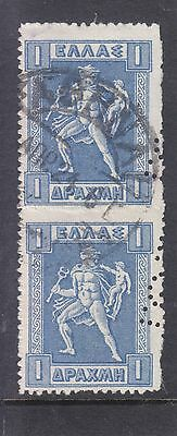 Greece 1911 1 Pair Perfin Stamps Used
