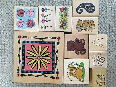 11 Flower and assorted rubber stamps for crafting