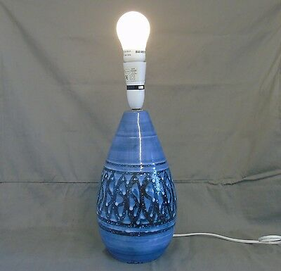 vintage rye pottery table lamp