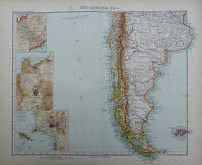 A detailed map of Argentina & The Falkland Islands by Adolf Stieler